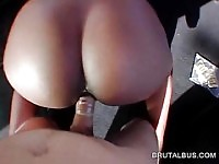 Choco hottie pounded doggy style in the bus